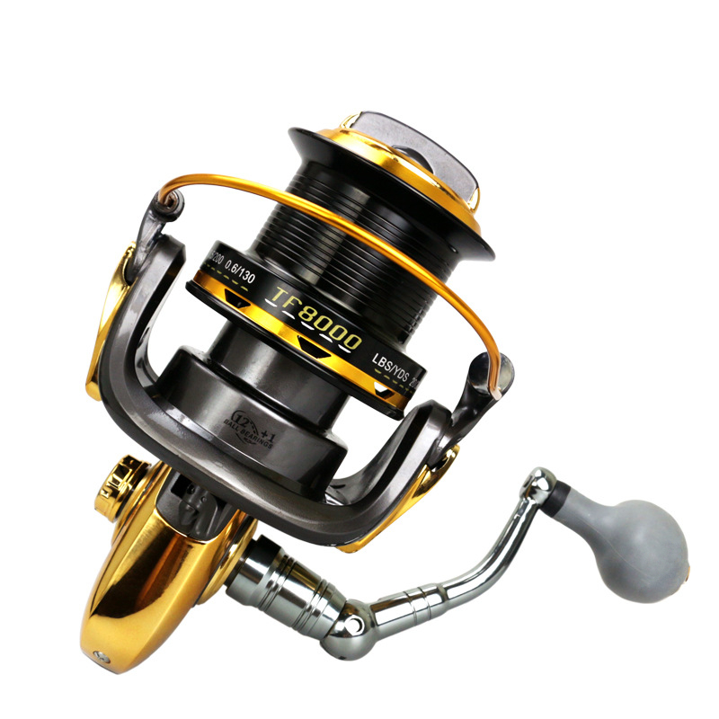 8000 Series 12+1BB 4.6:1 Fishing Reel Trolling Long Shot Casting Big Sea Spinning Wheel with Full Metal CNC Rocker Arm image