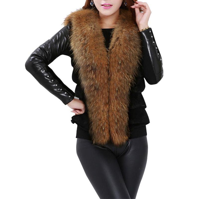 100% Waar Etosell Vrouwen Faux Fur Vest Pluizige Warme Winter Jas Casual Mouwloze Faux Wasbeer Bontkraag Vest Leren Jas Uitloper Vest H Prijs Blijft Stabiel
