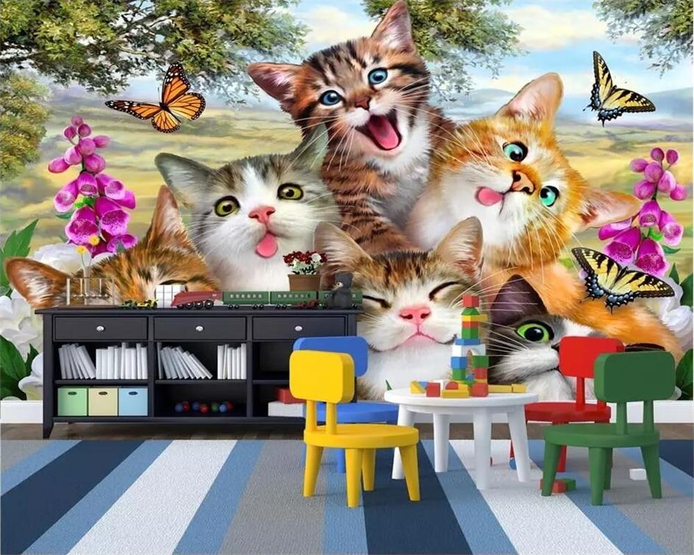 Beibehang Foto Kustom Wallpaper 3D Lukisan Dinding Wallpaper Lucu Kartun Rumput Kucing Potret Diri Seperti Anak