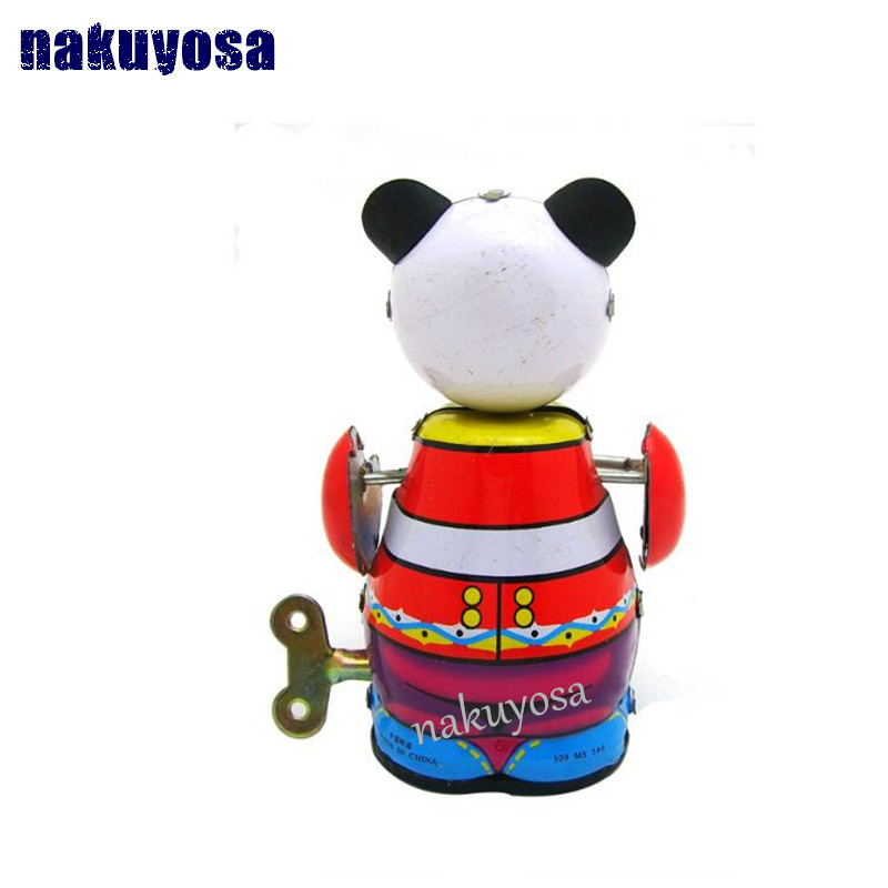 Panda Play The Drum Adult Collection Nostalgia Toys Photography Props Metal Toys Toys & Hobbies
