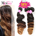 Ombre Brazilian Hair Loose Wave 3 Bundles T1B#4#30 Ombre Human Hair Brazilian Loose Wave Ms Mary 7A Brazilian Virgin Hair Bundle