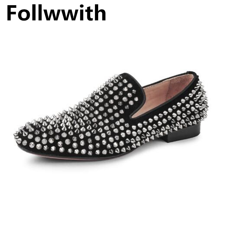 Follwwith Brand Design Top Quality Black/Gold Rivets Studded Men Casual Shoes Slip on Loafers Male Flats Dandelion Party Shoes fashion men loafers slip on brand designer low top casual men flats leather shoes calzado hombre comfortable leisure male shoes