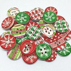 100 шт Рождественские узоры смешанные деревянные Рождественские Кнопки 18 мм 4 отверстия швейные круглые кнопки украшения-снежинки ремесла