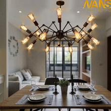 NANS Modern big Spider Industrial black vintage pendant Lamp Loft led Bulb E27 edison lamp for living room restaurants bar(China)