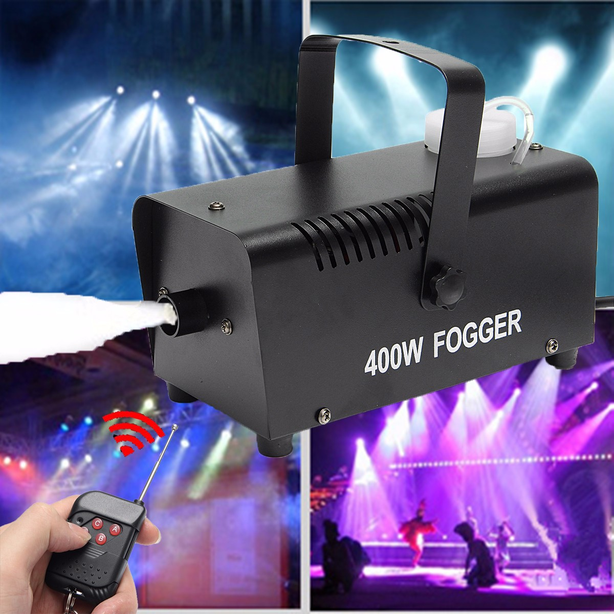 Mini LED RGB Wireless 400W Fog Smoke Mist Machine Stage Effect Disco DJ Party Christmas with Remote Control LED fogger niugul 1500w fog machine smoke machine stage mist effect 110v 240v remote wire control for disco dj party spray up fogger maker