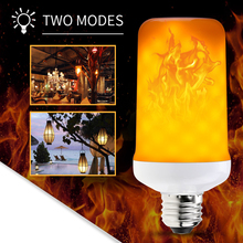E27 LED Lamp Flame Effect Flicker Fire Light Bulb E26 Candle E14 Gloeilamp 220V 42 63 99leds Hotel Lighting