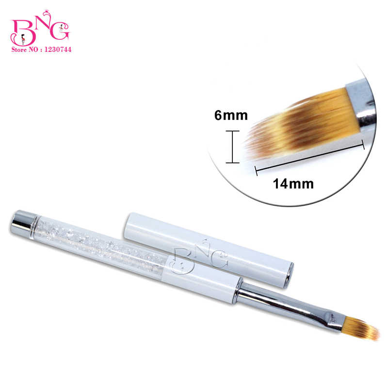 BNG 1 pc Datar Gradien Nail UV Sikat Profesional Nail Desain Nilon Rambut Lukisan Menggambar Pen French Manicure Tips Liner Brushes