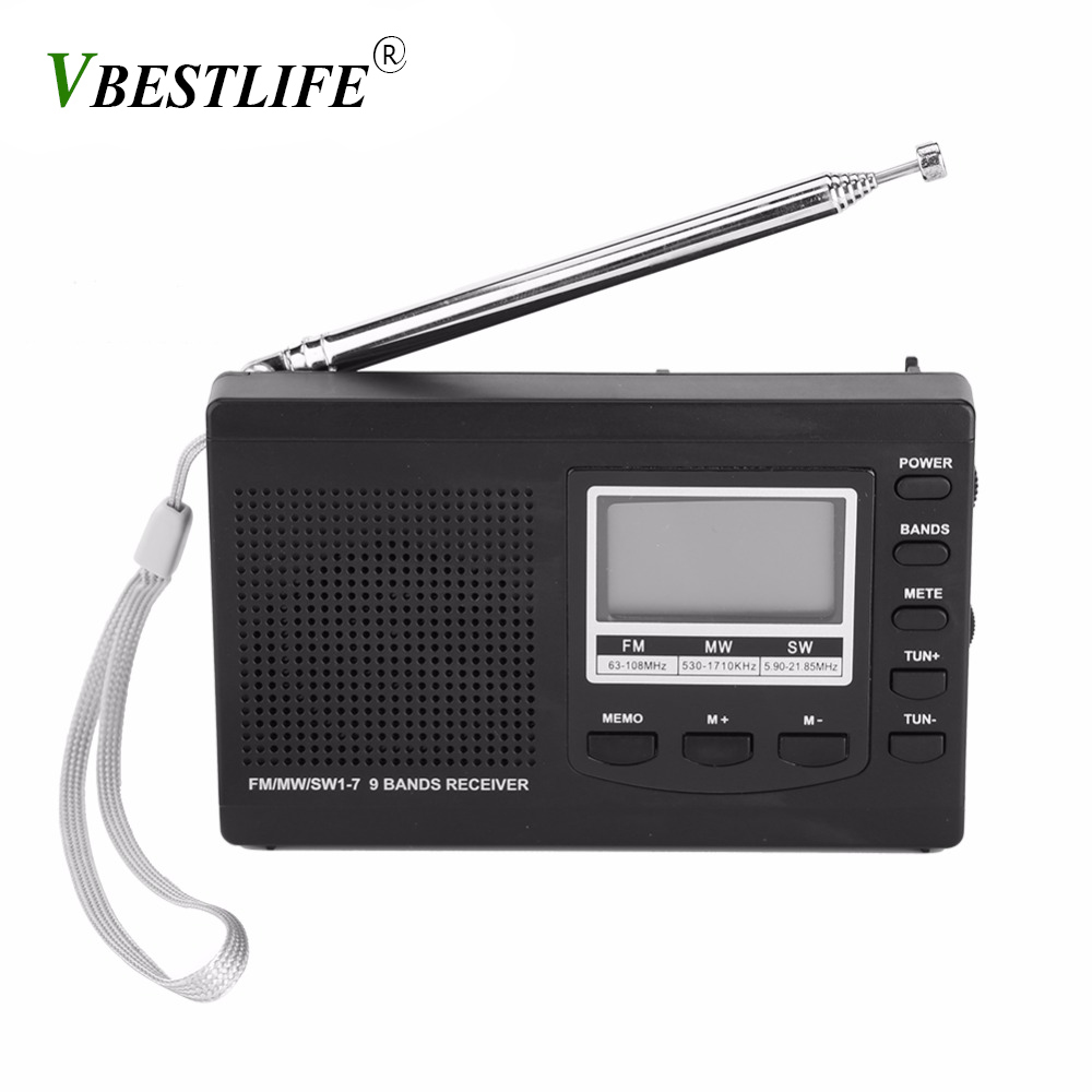 VBESTLIFE Portable Mini radio am fm FM/MW/SW with Digital Alarm Clock FM Radio Receiver digital portable fm receiver clock radio