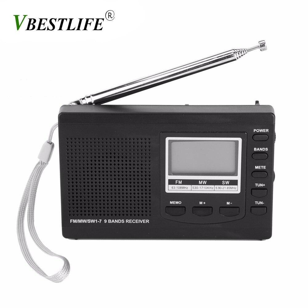 VBESTLIFE Portable Mini radio am fm FM/MW/SW with Digital Alarm Clock FM Radio Receiver digital portable fm receiver clock radio