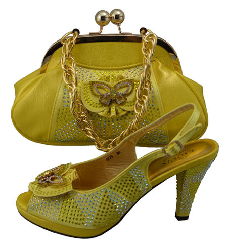 ФОТО African Shoe With Bags Set To Match Women Pumps Shoes High Class Italian Shoe With Matching Bag For Party Yellow Color GF25
