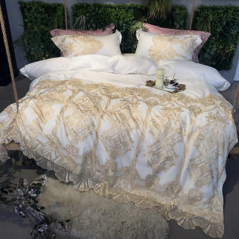 White Pink 100s Egyptian Cotton Lace Luxury Royal Bedding Set King Queen Size Bed Set Duvet Cover Bed Sheet Set Bedlinen