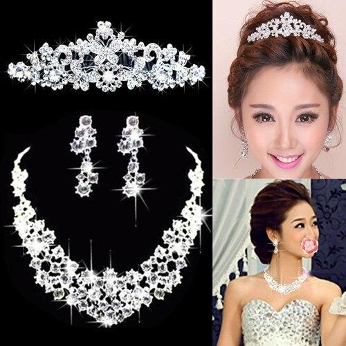 Nupcial Da Borboleta Flor Waterdrop Cor Prata Diamante de Cristal de Noiva 3 pcs Set Colar Brincos Conjunto De Jóias de Casamento Da Tiara Da Coroa (5)
