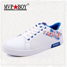 MVP BOY Brand 2017 Summer Breathable Shoes High Quality Men Casual Shoes Classic Solid White Shoes Men Leather Casual Shoes