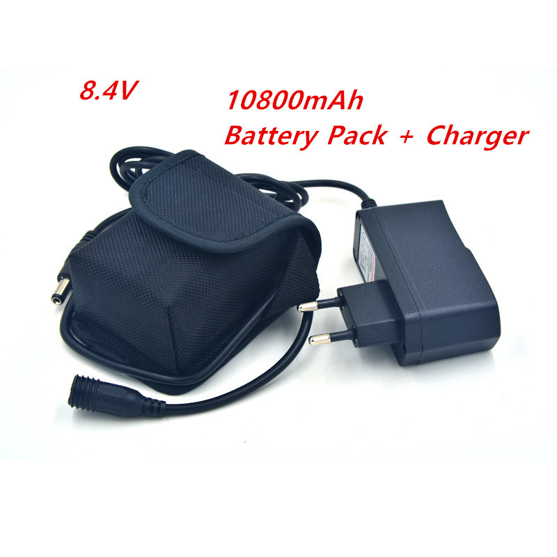 8.4V Battery Charger + Power Bank 10800mAh Li-on 6*18650 Battery Pack 8.4v for Bicycle Light Lamp Torch Headlamp