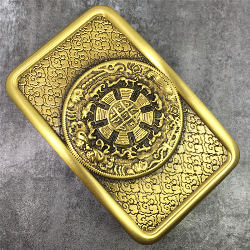 100% Solid Brass High Quality Male Belt Buckle Chinese Style Smooth Belt Buckle For Man Leather Belt BK0584