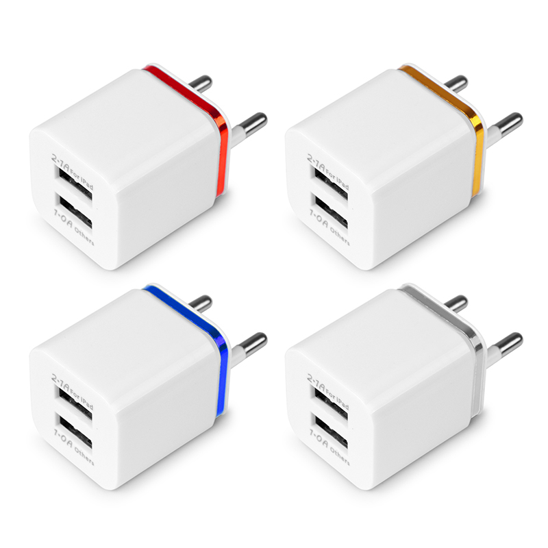 3.1A Universal 2 Ports USB Mobile Phone Charger Wall Charger US/EU Plug Travel Adapter Universal for iPhone Samsung iPad Xiaomi