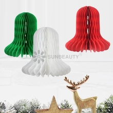 Pack Of 3pcs 16cm Tall Christmas Ornaments Honeycomb Jingle Bell Red White Green Christmas Decoration For Home Xmas Party цена