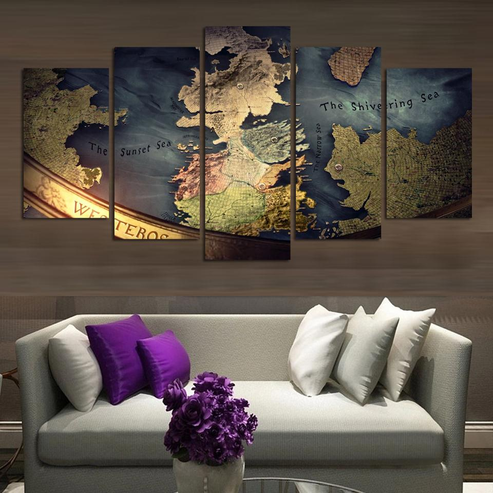 Drop Ship Unmframed Canvas 5 Pieces WORLD MAP TRADITONAL Modern Wall Painting Home Decor Wallpaper On Canvas Prints