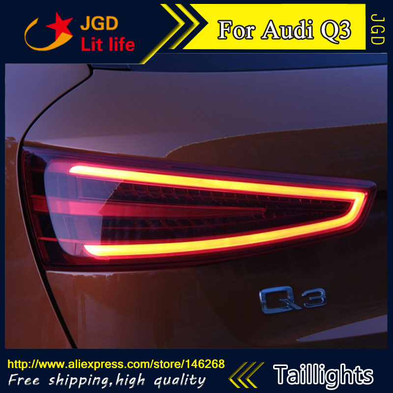 Car Styling tail lights for Audi Q3 LED Tail Lamp rear trunk lamp cover drl+signal+brake+reverse car styling tail lights for hyundai santa fe 2007 2013 taillights led tail lamp rear trunk lamp cover drl signal brake reverse