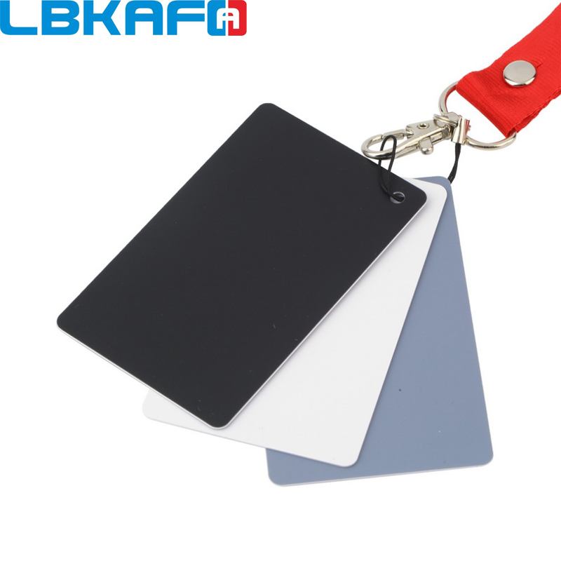 LBKAFA Digital Camera 3 in 1 17.5*12cm White Black Grey Balance Cards Gray Card with Neck Strap for Digital Photography Camera non standard die cut plastic combo cards die cut greeting card one big card with 3 mini key tag card