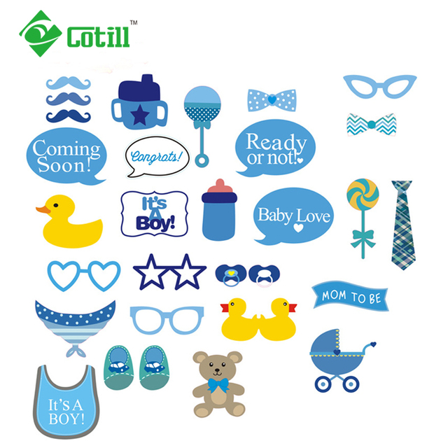 Cotill 30pcs DIY Baby Shower Photo Booth Boy Kid Blue Baptism Beard Party Decoration Birthday