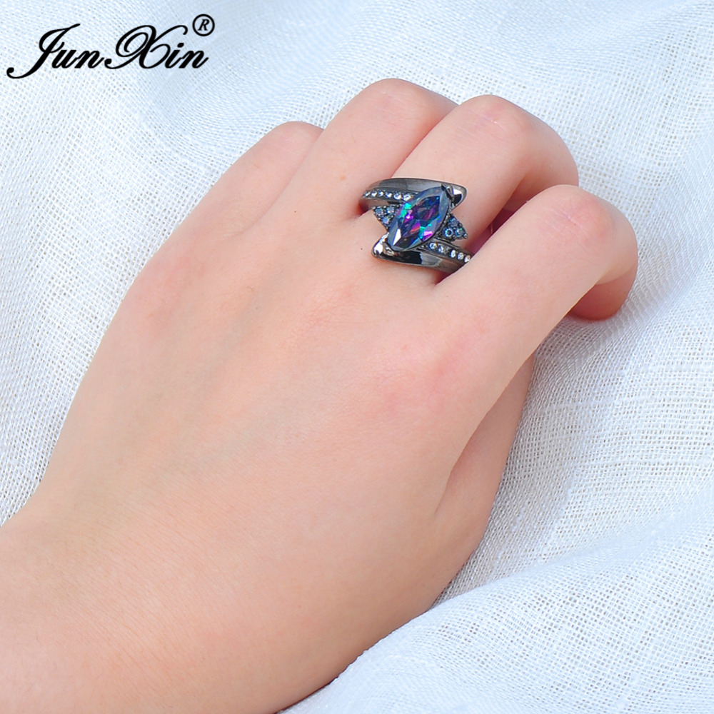 JUNXIN Female Horse Eye Rainbow Ring Black Gold Ring Vintage Wedding ...