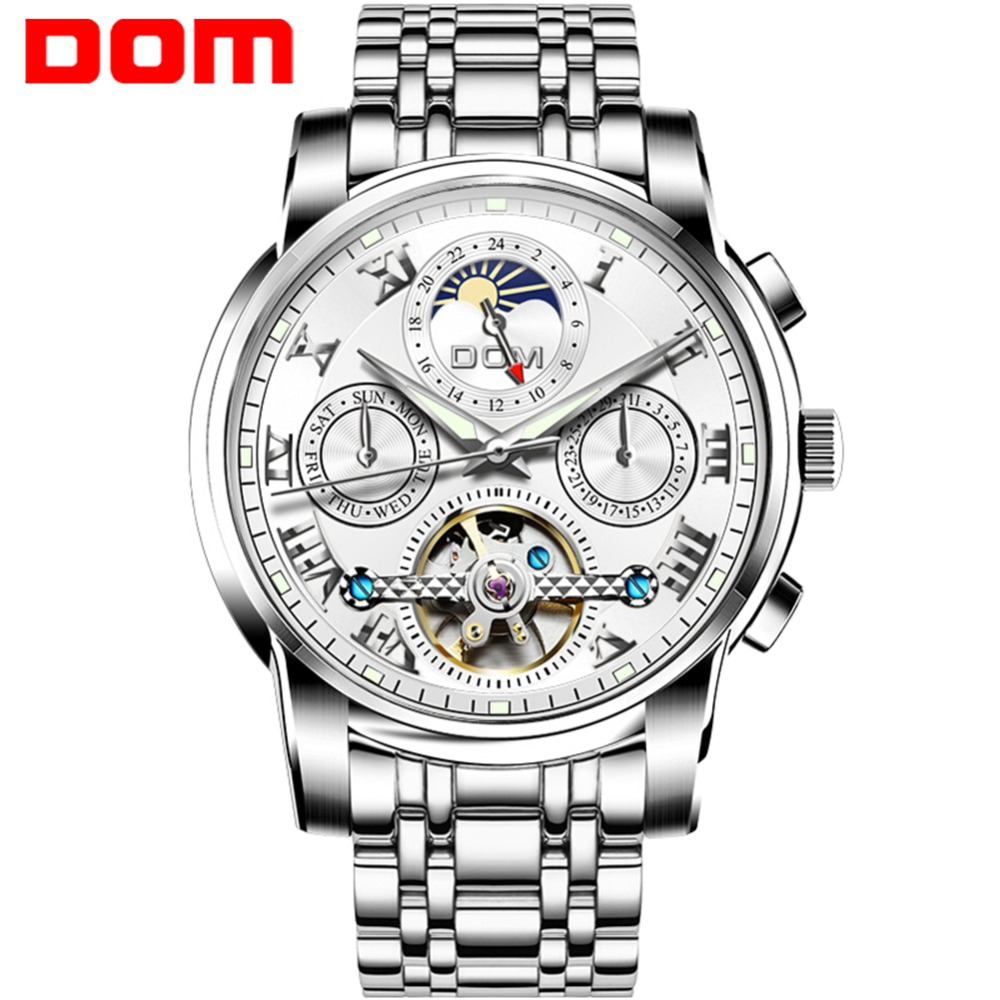 DOM Men Watch Skeleton Full-automatic Mechanical Tourbillon Waterproof Top Brand Luxury Fashion Moon Phase Wristwatch M-75D-7MH forsining2018 fashion casual new luxury roman numeral dail with tourbillon men s watch wristwatch moon phase display skeleton wa