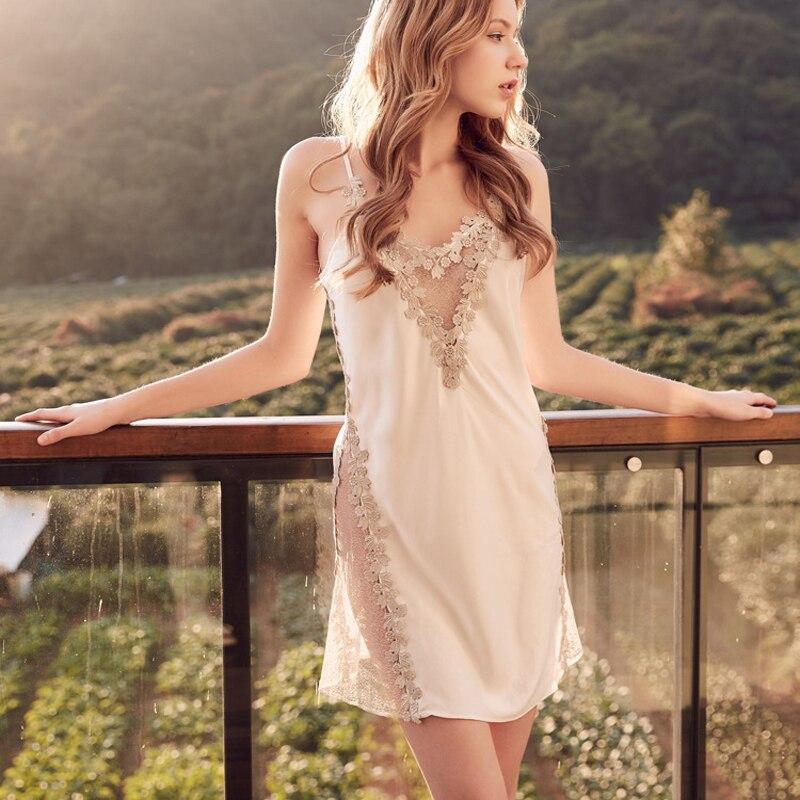 32ac632eee94 Сексуальное женское белье Женская пижама ночная рубашка Lenceria Femenina кружевное  платье Летнее Ночное платье неглиже сорочка