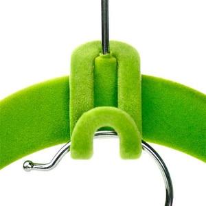 Image 4 - 10PCS/Lot Cloth Hanger Hook Mini Flocking Clothes Hanger Easy Hook Closet Organizer Holder Random Color