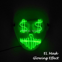 20 New Styles EL Wire Glowing Mask Party Mask LED Neon Light up Neon Mask For Halloween Party Scary Party Them Cosplay Decor
