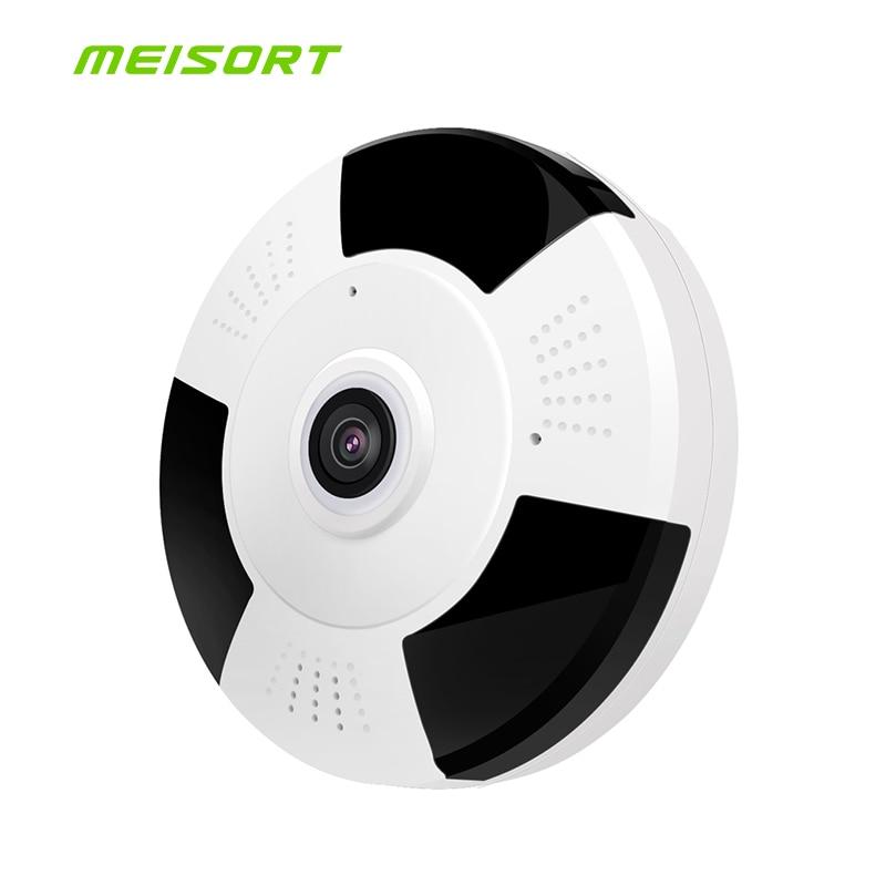 Meisort 960P HD ip Camera Panoramic Fisheye 360 Degree wifi wireless network Surveillance Security night vision ip camera webcam erasmart hd 960p p2p network wireless 360 panoramic fisheye digital zoom camera white