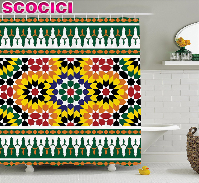 Moroccan Shower Curtain Vibrant Old Fashion Indie African Tribal ...