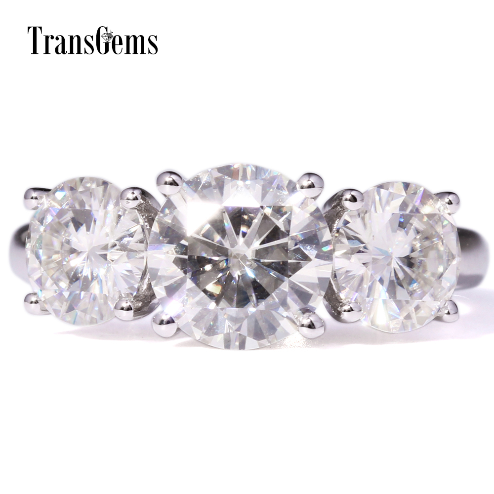 Transgems 4 Ctw Carat Lab Moissanite Diamond Three Stone