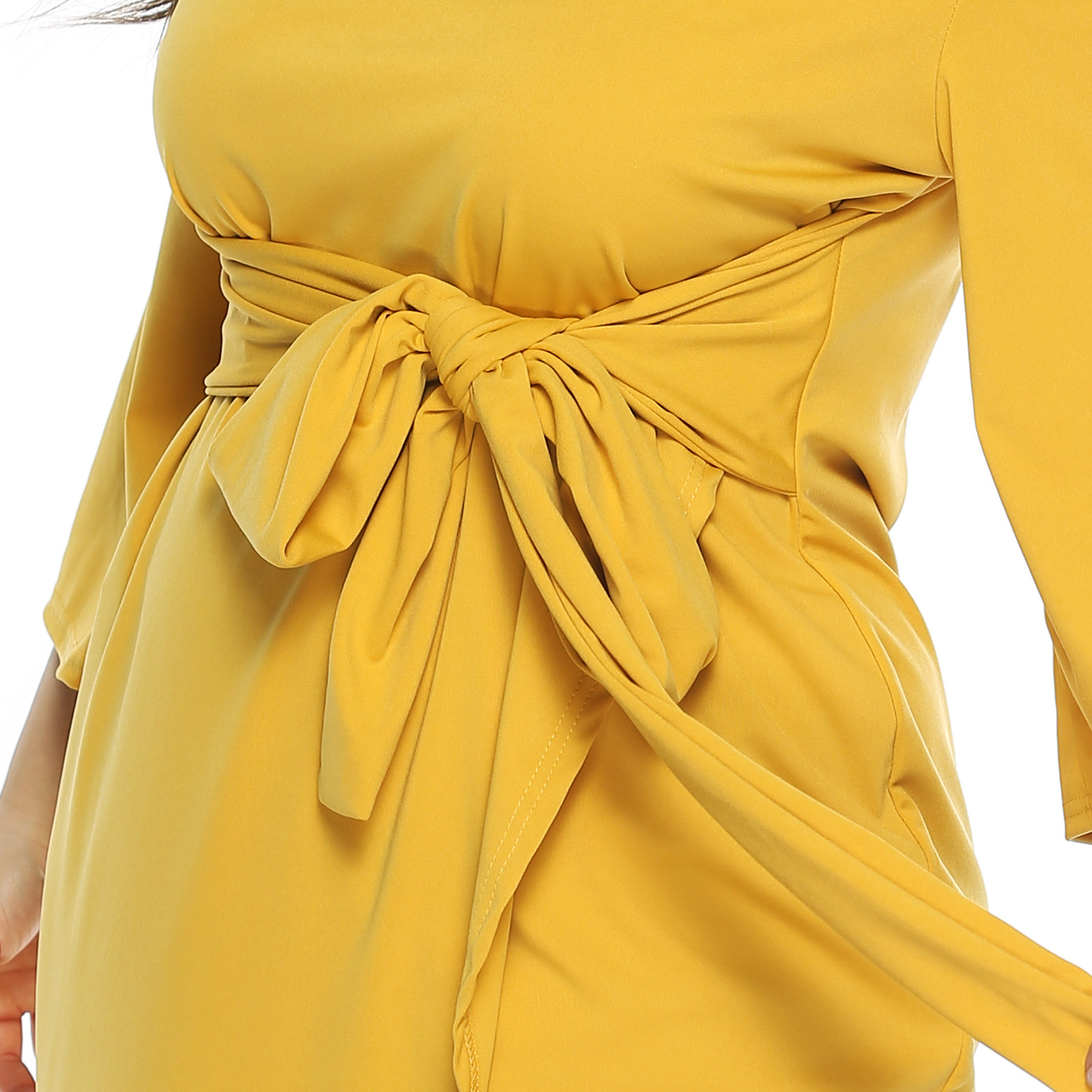 PGSD Autumn casual simple Irregular solid color Crossbanded O Neck Three Quarter horn sleeve Dress Big size women clothes 4XL in Dresses from Women 39 s Clothing