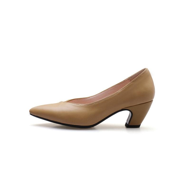 En Chaussures Salu Printemps Femmes Gratuite Femme Bout Hauts Noir Cuir Livraison automne noir Beige Véritable Rond Robe Talons Pompes rCqSxwIq