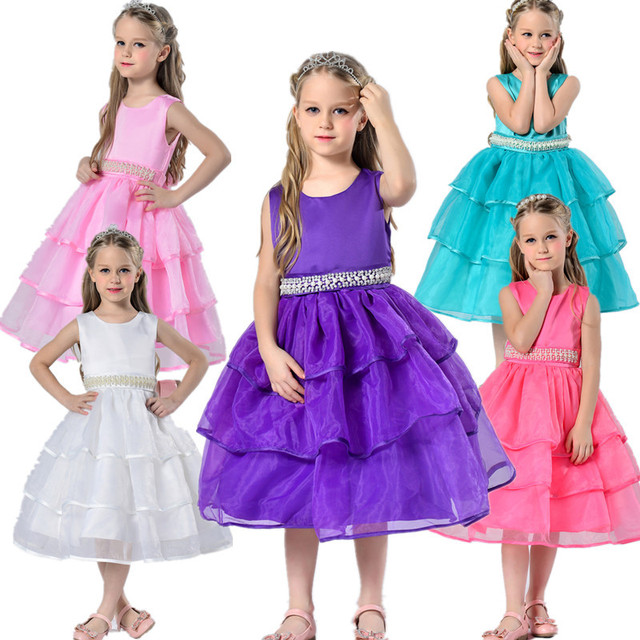 c4e4be63 3-13Y Girls party dress children beads flower wedding dress green purple  white pink age size 3t 4 7 8 9 10 11 12 13 years old