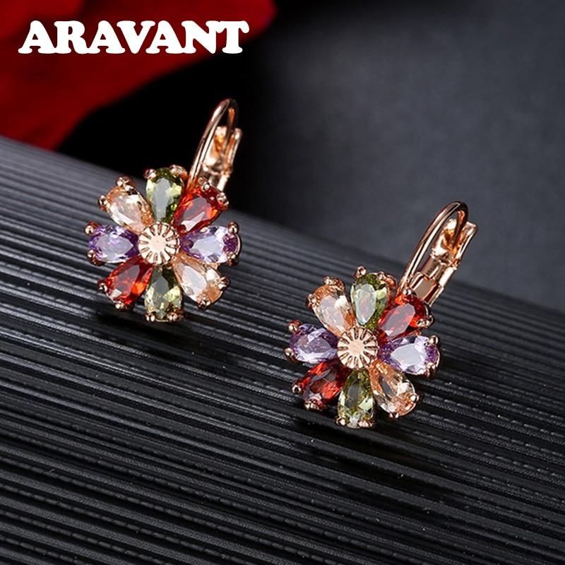 Ladies Zircon Flower Drop Earrings For Women Rose Gold Color Earring Fashion Jewelry