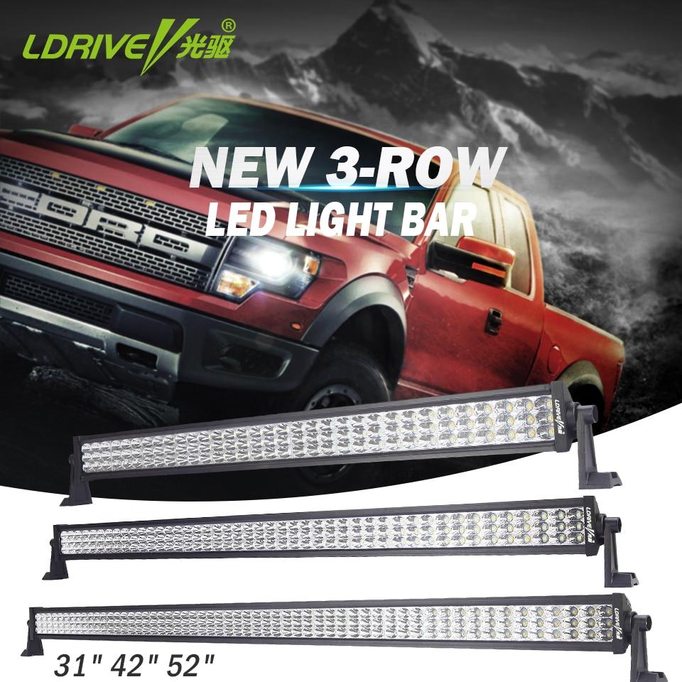LDRIVE 31 42 52 Tri-row LED Light Bar Combo Beam Offroad LED Work Light Bar For Car Excavator SUV ATV 4x4 4WD Trailer 12V 24V