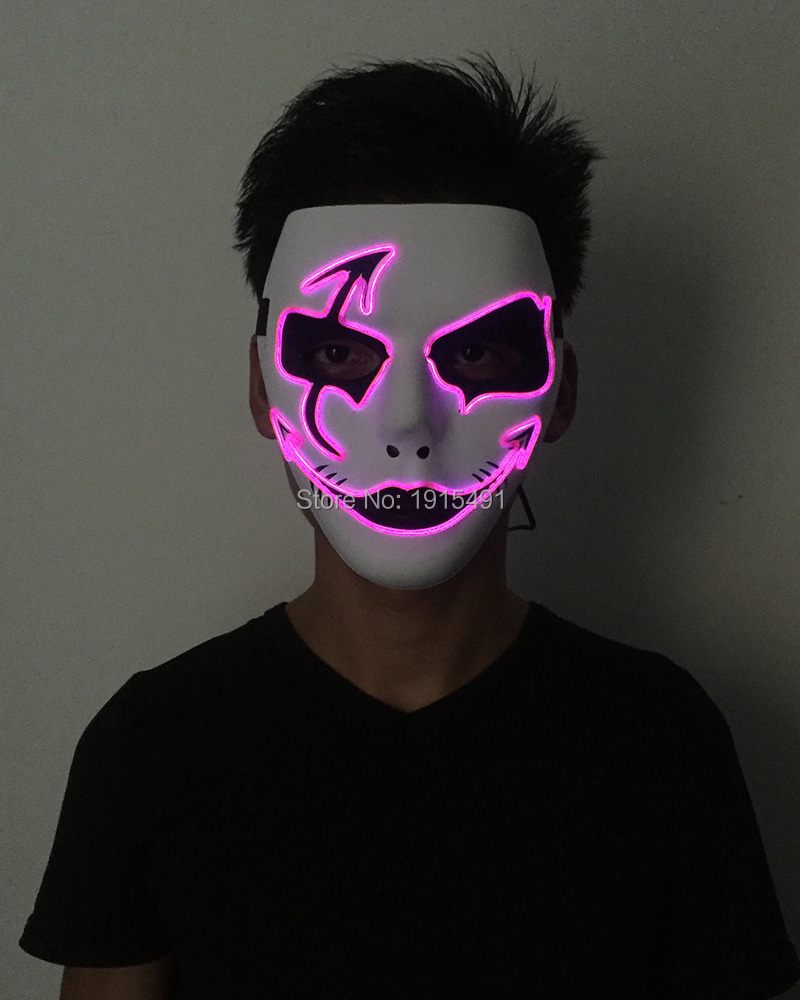 Stage Design Sound Sensitive Neon Led Strip Scar Face Mask Rave Costume Party Decor Light Up EL Wire Cold Light Flickering Mask deha