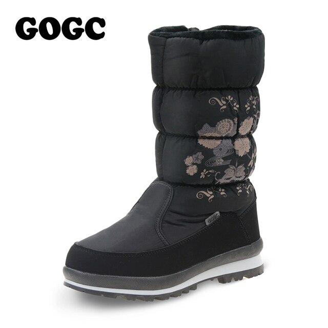 GOGC Новое поступление 2017 года зимние сапоги женская обувь удобные цветочным Женские сапоги зимние сапоги для Для женщин женская обувь