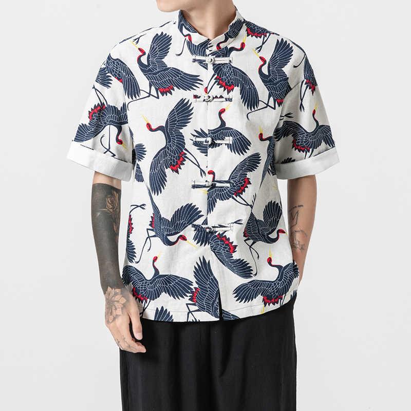 男性半袖柄プリントコットンリネンカジュアルシャツ男性ストリートヒップホップ中国スタンド襟の夏のシャツプラスサイズ m-5XL