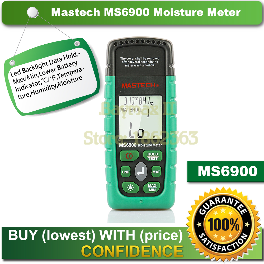 Mastech MS6900 Professional Mini Digital Moisture Meter Wood/ Lumber/Concrete Buildings Humidity Tester with LCD Display mastech ms6900 portable digital timber wood moisture meter lcd hygrometer temperature meter humidity meter tester