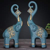A Pair of FuXiang Elephant Resin Crafts Creative Home Decoration Elephant Sculpture Display New House Gifts