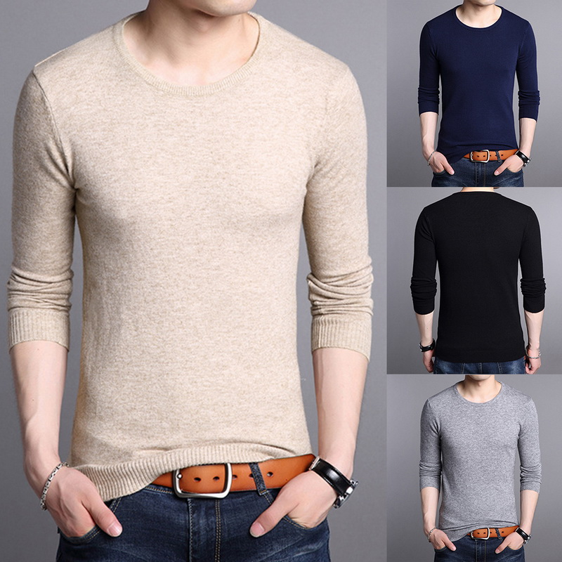 MJARTORIA 2019 o-Neck Pullover Autumn Winter Solid Men's Sweater Slim Fit Knittwear Pullovers Men Pull Homme