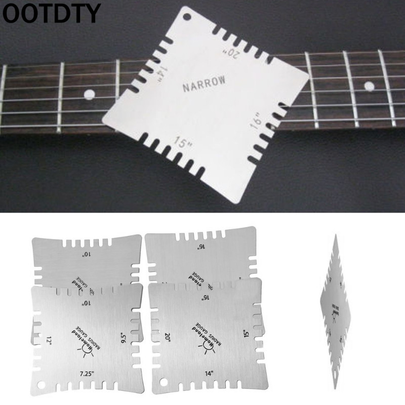 Ootdty 4pcs Guitar Notched Radius Gauges Fingerboard Measuring Tools For Luthier Guitar Parts & Accessories