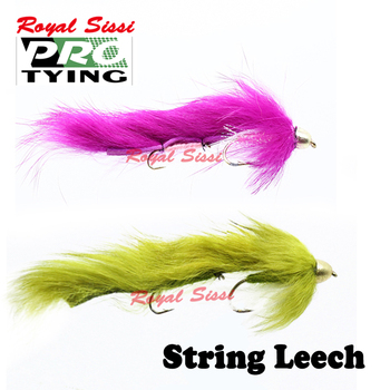 Royal Sissi New developed 2pcs/box double hooked string leech streamer fly fishing flies 4# 6#conehead bunny bass pike fly lure image