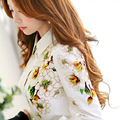 Original New 2016 Brand Autumn and Winter White Shirt Printed Long-Sleeved Slim Casual Women Office Blouse Blusa Wholesale