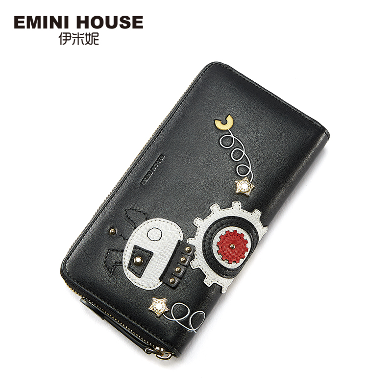 EMINI HOUSE Robot Series Womens Wallets and Purses Women Leather Handbags Long Wallet Lady Purse High Capacity Women Coin Purse