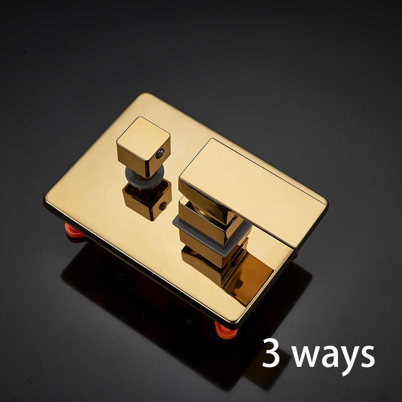 Válvula Torneira de ouro Triplo Torneira Válvula Cartucho Incorporado Caixa Termostáticos 3 Maneira Válvula Misturador Do Chuveiro para o Painel Do Chuveiro