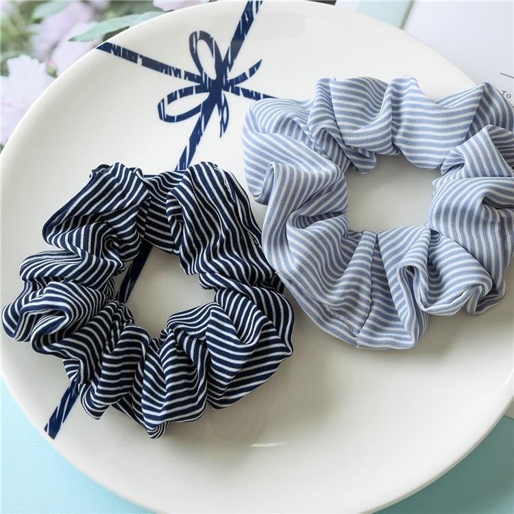 Fashion Girls Women Stripe Dot Grid Soft Hair Scrunchie Ponytail Grip Loop Holder Stretchy Elastic Hair Band Headwear